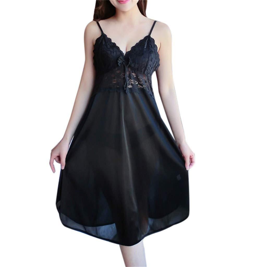 internet_Mujer Sexy camisón de seda con correa de hielo, tentación ...