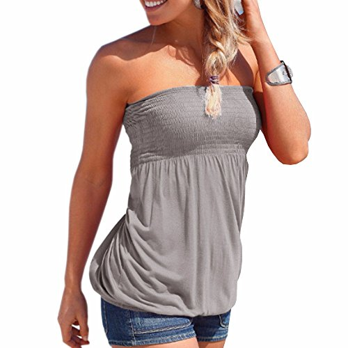 2f3e316ca48 IMAGINE Women s Sexy Floral Print Strapless Pleated Tube Top Shirt Blouse  Tanks Camis GY-L - Buy Online in Oman.
