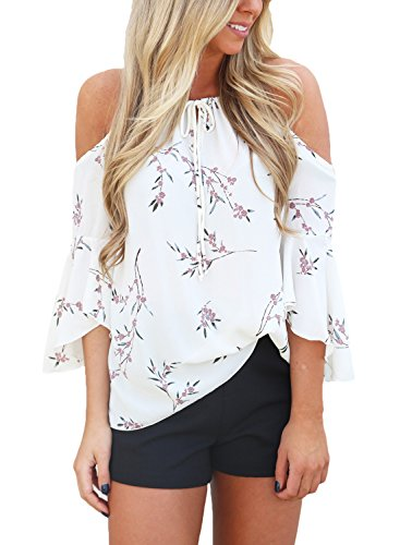 Astylish Women Casual Floral Print Cold Shoulder 3/4 Sleeve Chiffon Blouse