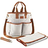 Diaper Bag by Chic Mom - Stylish Designer Baby Bag Set for Woman - Fashionable Canvas Mom Tote for Newborn, Toddler, Boys and Girls with Stroller Straps and Changing Pad - Baby Shower Bag
