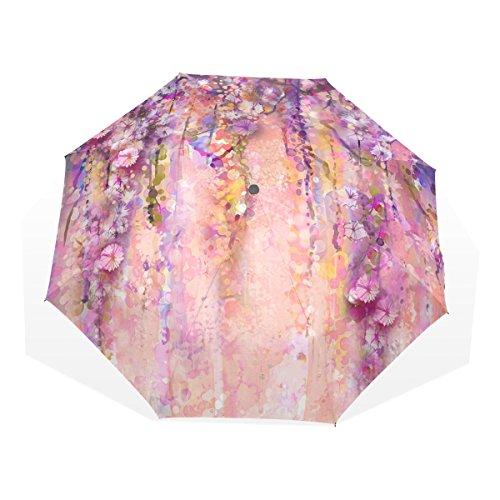 GUKENZ Pink Violet Watercolor Flowers Painting Wisteria Tree Travel Umbrella Lightweight Anti-UV Sun Rain Umbrella for Men Women and Kids, Windproof Folding Compact Umbrellas