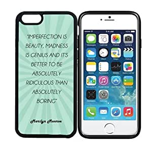 iPhone 6 (4.7 inch display) RCGrafix Imperfection Is Beauty, Madness Is Genius Marilyn Monroe Quote - Teal Rays - Designer BLACK Case - Fits Apple iPhone 6- Protected Cell Phone Cover PLUS Bonus Iphone Apps Business Productivity Review Guide