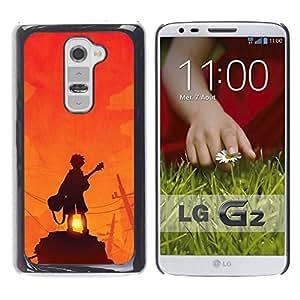 For LG G2 / D800 / D802 / D802TA / D803 / VS980 / LS980 Case , Guitar Player Sunset Rock Orange - Diseño Patrón Teléfono Caso Cubierta Case Bumper Duro Protección Case Cover Funda