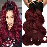 Black Rose Hair Body Wave Brazilian Ombre Human Virgin Remy Hair Bundles Extension Color 1b/99j Burgundy Hair Weaves (Pack of 3, 10 12 14)