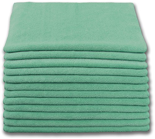 Heavy Duty Microfiber Terry Cloth 16x16 400gsm - Green Case of 180 by Direct Mop Sales, Inc.