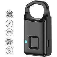 FOONEE - Candado de huella dactilar, aleación de aluminio, mini candado inteligente, detección rápida 1s desbloqueable, USB recargable con huella dactilar para puerta/maleta/taquillas escolares/taquillas de oficina/gabinete de gimnasio