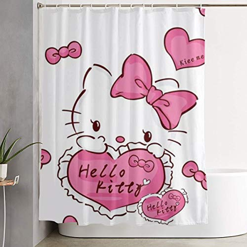 LYULIAN Hello Kitty with Hook Stylish Shower Curtain Printing Waterproof Bathroom Curtain 60 X 72 Inches
