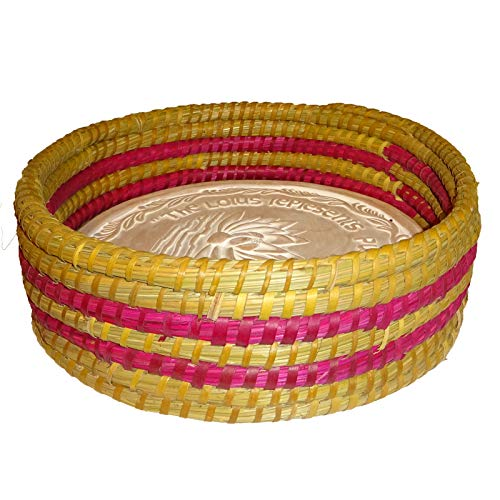 Warming Bread Basket with Lotus Warmer Tile Stone Hand Woven For Rolls Appetizers by The Crabby Nook (Made You Blush)
