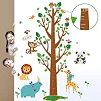 decalmile Tree and Animals Height Chart Kids Wall Decals Monkey Lion Owls Wall Stickers Baby Nursery Childrens Bedroom Living Room Wall Decor