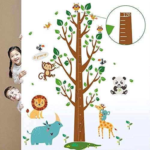 decalmile Tree and Animals Height Chart Kids Wall Decals Monkey Lion Owls Wall Stickers Baby Nursery Childrens Bedroom Living Room Wall Decor (Safari Growth Chart)