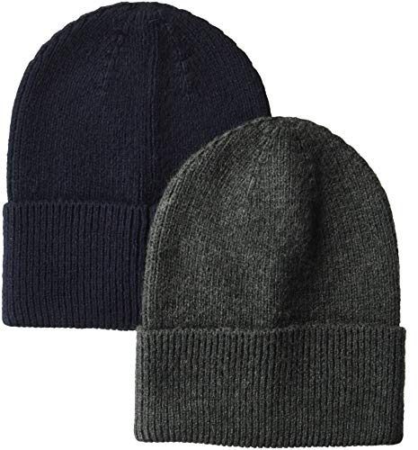 Cheap Winter Hats (Amazon Essentials Men's  2-Pack Knit Beanie Hat, Navy/Gray Heather, One)
