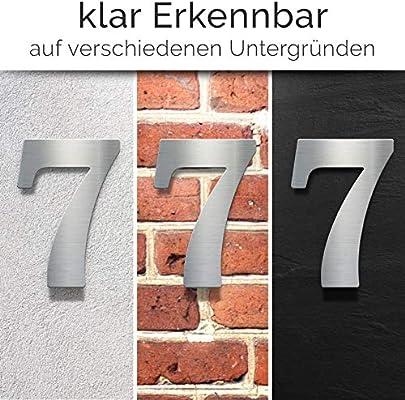 Montagematerial N.30.E inkl Edelstahl Hausnummer 0 Hausnummernschild wetterfest /& rostfrei
