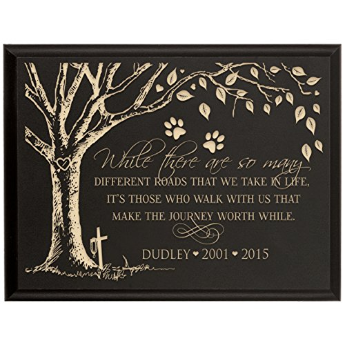 Personalized Pet Memorial Gift, Sympathy Wall Plaque, While There Are So Many Different Roads That We Will Take, Custom Engraved Plaque measures 6x8 by DaySpring Milestone USA Made (Black)