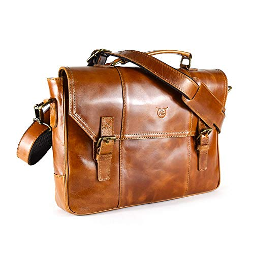 AG Leather Genuine Leather Messenger Bag Briefcase Attache Case 17