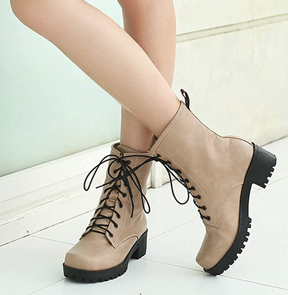 Unm Womens Comfortable Round Toe Lace Up Short Booties Mid Block Heel Platform Ankle Boots