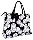 Quilted Black Baseball X-Large Tote Bag - 22-Inch
