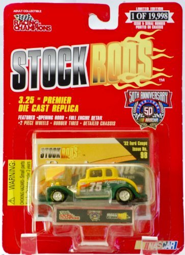 - Stock Rods 1998 - Racing Champions NASCAR 50th Anniversary - #75 Rick Mast - 1932 Ford Coupe - Remington Arms - w/ Collector Card - 1 of 19,998 - Out of Production - Rare Collectible