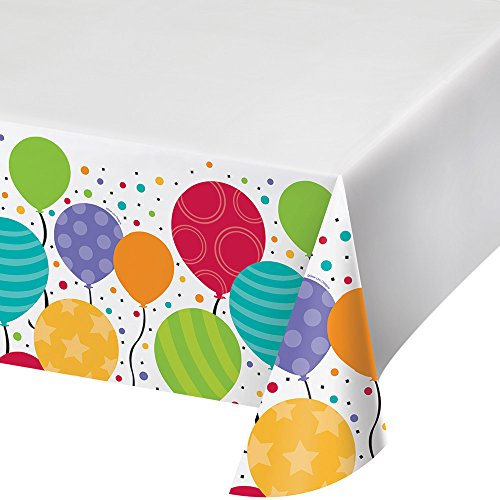 Creative Converting 12-Count Plastic Table Covers, Shimmering Balloons - 721902