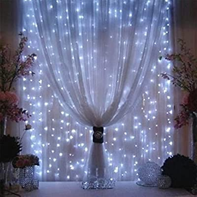 Valuetom 304 LED Curtain Lights Fairy String Twinkle Lighting for Party Wedding Home Garden Decoration 9.8Ft9.8Ft