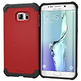 Galaxy S6 Edge+ Case, roocase [Exec Tough] S6 Edge+ Slim Fit Case Hybrid PC / TPU [Corner Protection] Armor Cover Case for Samsung Galaxy S6 Edge Plus (2015), Carmine Red