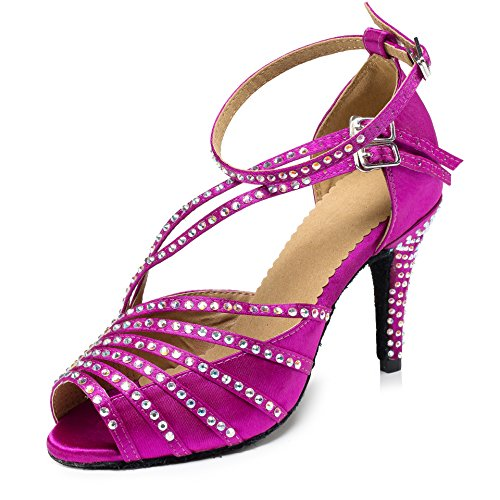 Dance Modern Pumps Rhinestone Shoes Tango Latin Fuchsia LD092 Heels Ankle URVIP Strap Buckle PU Leather Shoes Women's Cross X6UBUq