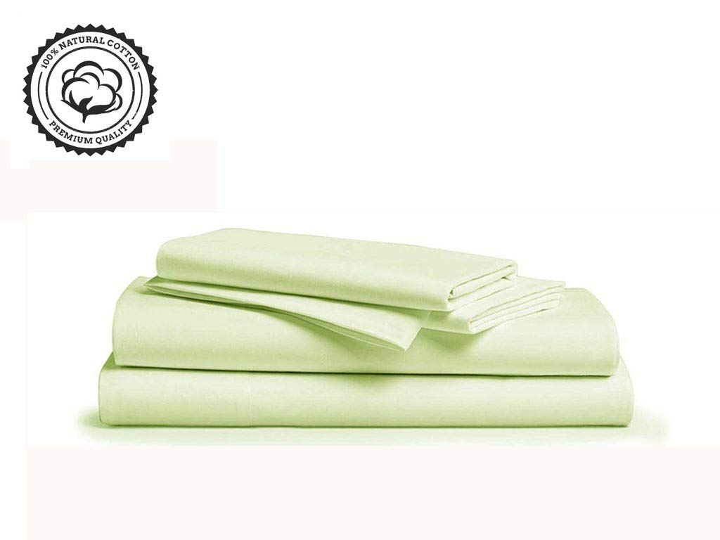 """LINENWALAS 800 Thread-Count 100% Pure Cotton Bed Sheets On Amazon 4Pc King Size Mint Color Sheet Set-Long Staple Combed Cotton Yarns,Sateen Weave,Fits Mattress Upto 16"""" Deep Pocket - Mint, King"""