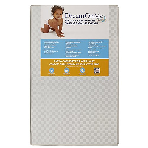 Dream On Me Folding Crib (Dream On Me 3 Portable Non-full size crib mattress, White Vinyl)