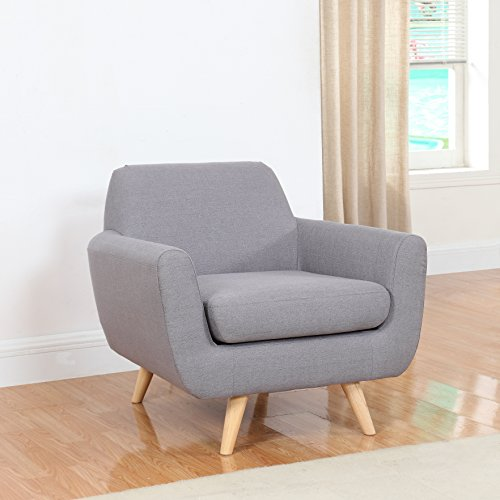 Mid Century Modern Linen Fabric Living Room Accent Chair Light Grey