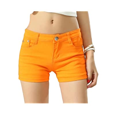 Abetteric Women Short Summer Shorts Skinny Summer Leisure Mulit Color Shorts Jeans Orange1 M