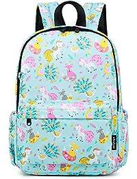 Little Kids Unicorn Toddler Backpacks for Girls Preschool Backpack With Chest Strap (Unicorn Light Blue)