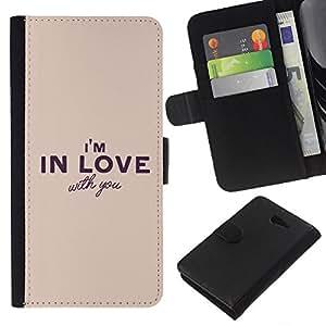 KingStore / Leather Etui en cuir / Sony Xperia M2 / En amor con usted Romance Cita Relación