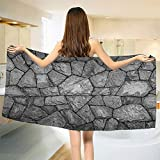 smallbeefly Grey Bath Towel Stone Wall Texture Image Rough Rusty Blocks Obsolete Structure Antique Grunge Weathered Bathroom Towels Grey Size: W 27.5'' x L 70''