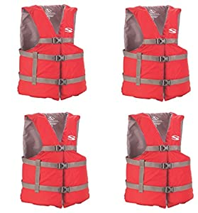 Stearns Adult Classic Series Vest hfGWxq, Red,4 Pack (Universal)