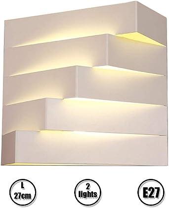 Interior Luces de Pared Moderno Blanco Cabecera Lámpara de Pared Dormitorio 3D Geometría Bañador de Pared Balcón Estudio Escaleras Creativo Apliques de Pared Metal E27 × 2 Iluminación L27 × H24cm: Amazon.es: Iluminación