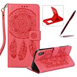 Strap Pu Leather Case for iPhone XS Max,Wallet Flip Cover for iPhone XS Max,Herzzer Classic Elegant Book Style [Red Wind Chime] Embossed Slim Fit Stand Leather Folio Pouch Protective Mobile Cellphone Case for iPhone XS Max