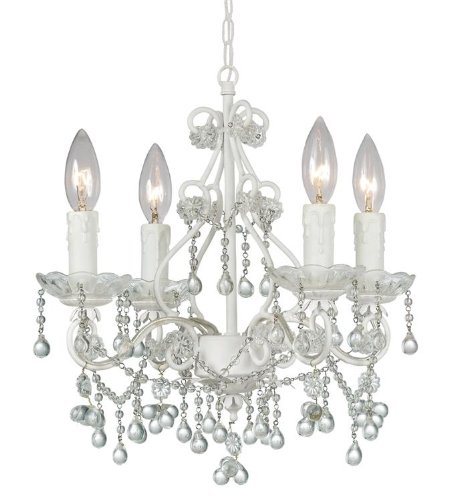 Crystorama 4514-WW-CLEAR Crystal Four Light Mini Chandeliers from Paris Flea Market collection in Whitefinish, ()