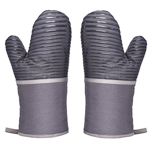 Aramox Oven Gloves Kitchen Gloves Heat Resistant Heat Resistant Anti-Slip BBQ Grill Grilling Fireplace 1 Pair Gray