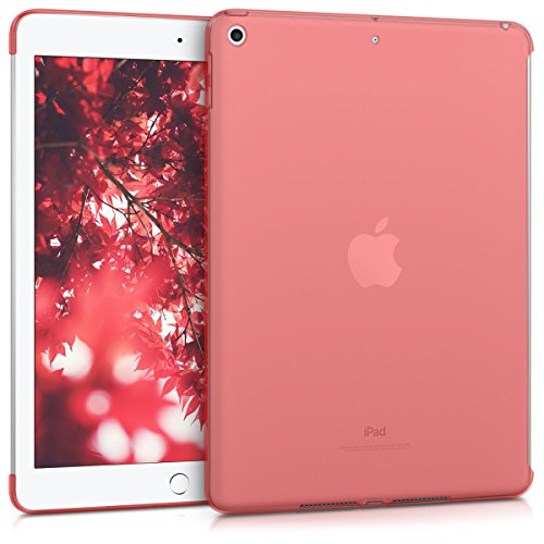 kwmobile Crystal Case for Apple iPad 9.7 (2017/2018) - TPU Silicone Smart Cover Compatible Protective Cover - Red/Transparent