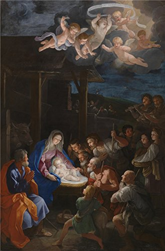High Quality Polyster Canvas ,the Best Price Art Decorative Canvas Prints Of Oil Painting 'Guido Reni The Adoration Of The Shepherds ', 20 X 30 Inch / 51 X 77 Cm Is Best For Powder Room Decor And Home Artwork And Gifts