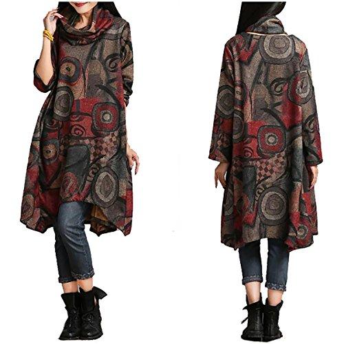 hiver automne manches longues pull Imprim irrgulire Vintage Rouge Neck QBQ Turtle Jersey Femmes qtFYII