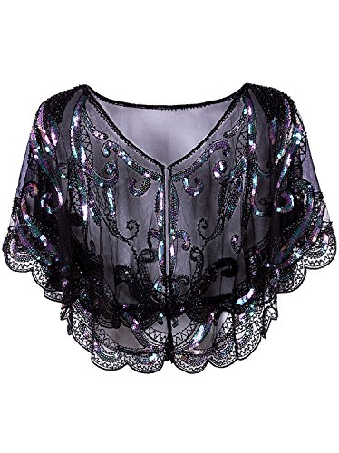 Vijiv Womens Vintage 1920s Evening Cape Shawl Shrug Inspired Beaded Sequin Gatsby Flapper Bolero Cover Up