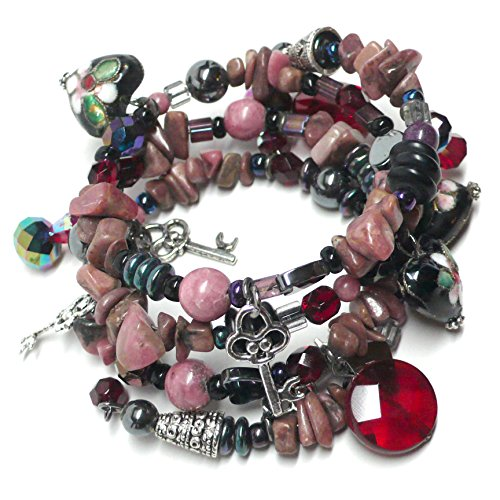 Rhodonite Chips Pewter Key Cloisonne Heart Memory Wire Bracelet (Handcrafted Pewter Bracelet)
