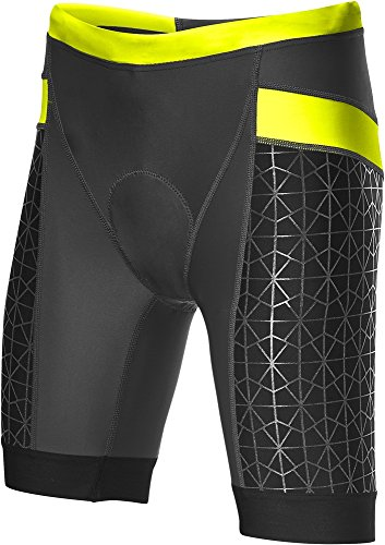 TYR Women's 6' Competitor Tri Short (Black/Lime, Large)