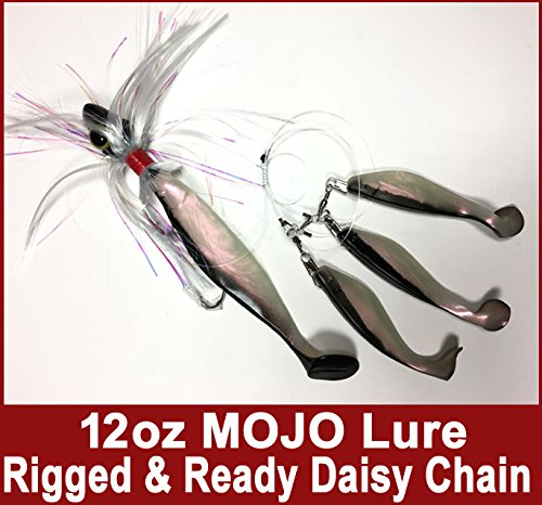 Blue Water Candy Rock Fish Candy 12 oz Spire (Black) Mojo Striper Daisy Chain Lure, Loaded with 9-Inch Swimbait Shad Body & 3 x 6-Inch Trailing Shads - Rigged & ()