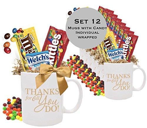 12 Piece Thank You Candy Gift Mugs/Employee Appreciation Gift Mug/Holiday Candy Gift Mug/Teacher Thank You Mug/Office Staff Gift Mug/Business Thank You Mugs -