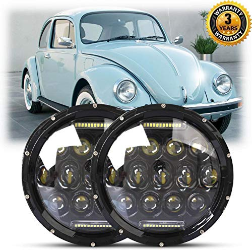 Beetle Classic (For VW Beetle Classic Upgrade LED Round Driving Headlights 7 Inch Hi/Lo Beam KIT DRL H6024 Full Angel Eye Headlamps – 2 Year Warranty)