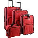 Rockland Luggage Skate Wheels 4 Piece Luggage Set, Red, One Size, Bags Central