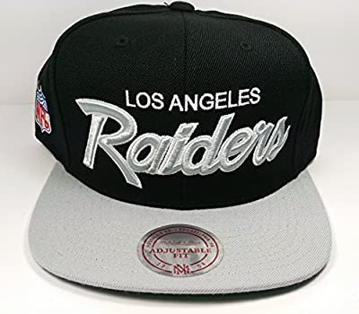 Mitchell & Ness Los Angeles Raiders Black and White Vintage Script N.W.A Adjustable Snapback Hat NFL