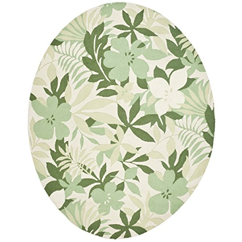 Wool Tropical Floral Area Rug - Safavieh Berkeley Collection BK126A Handmade Beige and Green Premium Wool Oval Area Rug (7'6