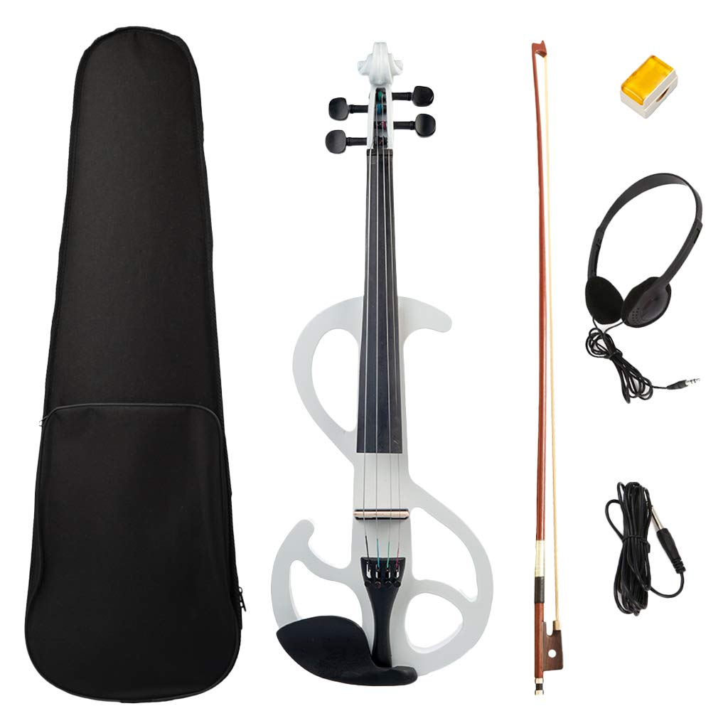 Homyl 1 Set 4/4 Solid Wood Electric/Silent Violin with Violins Fiddle Accessories Fittings, White